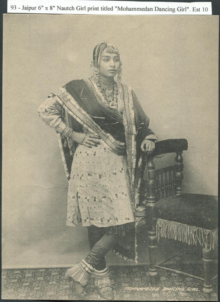 "A studio photograph of a nautch girl. The image caption reads: ""93 - Jaipur 6"" x 8"" Nautch Girl print titled ""Mohammedan Dancing Girl"" Est 10"""