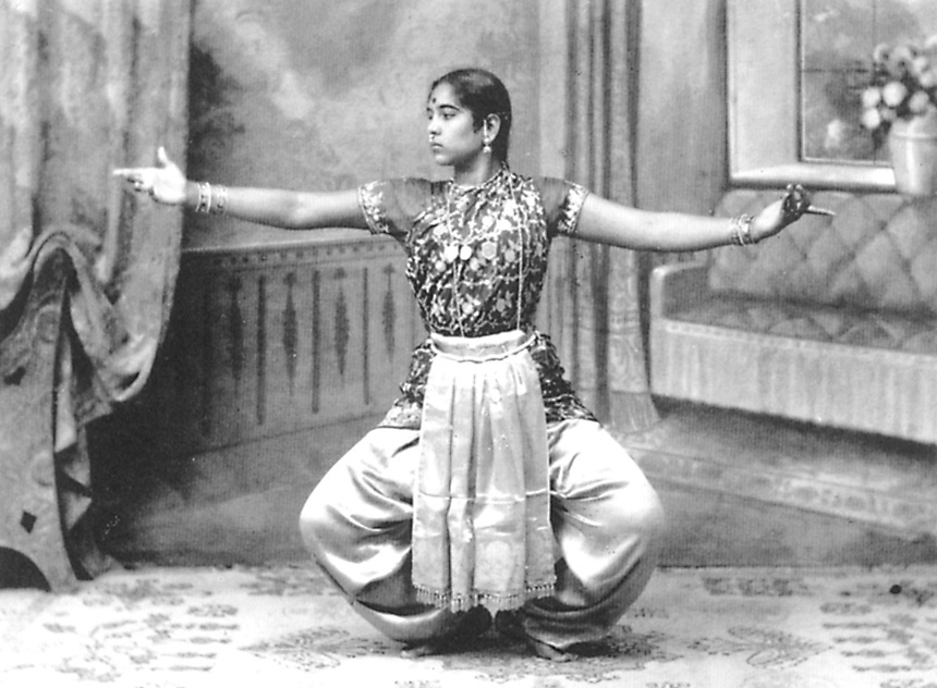 A photograph of Balasaraswati performing or practicing dance in Madras