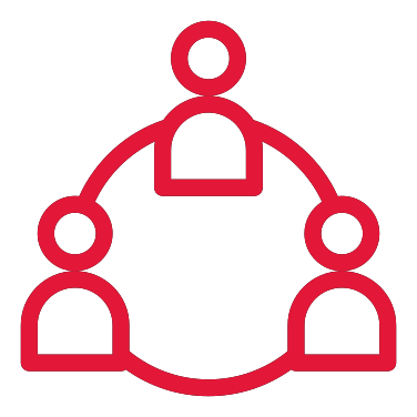 An illustrated icon of a group of people in a connected circle.