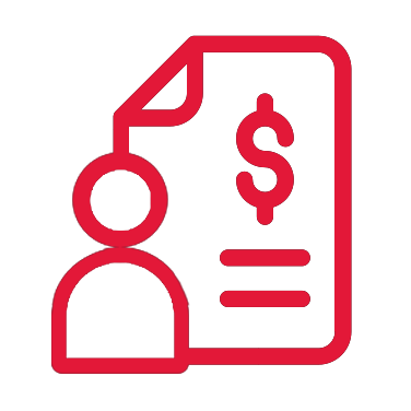 A bright red, illustrated icon of a human figure in front of a large paycheck.