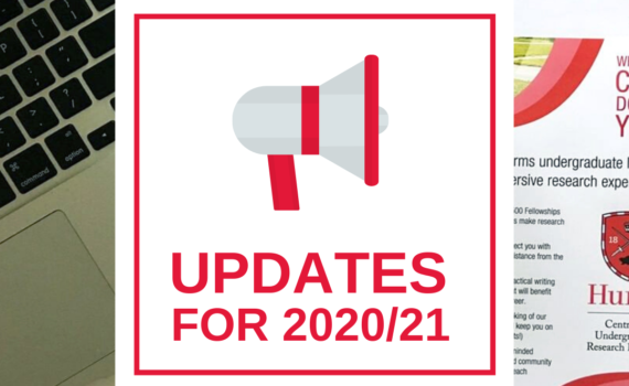 "The background is a desk holding a cup of coffee, a laptop, and a stack of CURL advertisements. A white square on top of the background has an illustration of a megaphone and red text that reads ""Updates for 2020/21""."