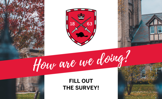 "Text below a red Huron logo reads, ""How are we doing? Fill out the survey!"""