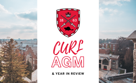 "Below a Huron shield logo, bright text reads, ""CURL AGM & Year in review."" In the background is a photo of Huron."