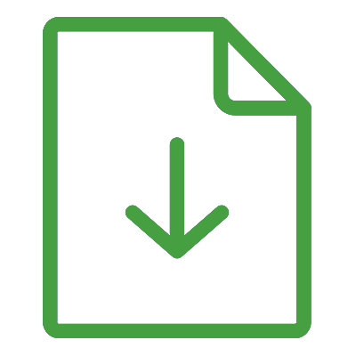 An icon of a piece of paper with a down arrow indicating a downloadable document.