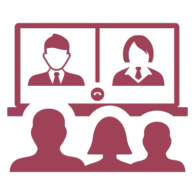 An illustrated icon displaying a video conference.
